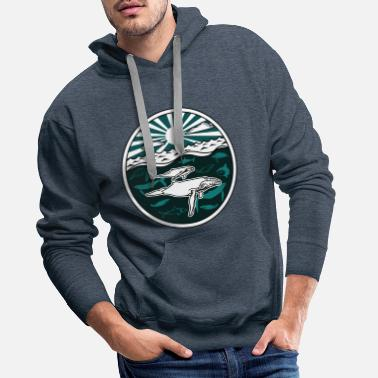 Animal Humpback whale family Sea animals Sun ocean Sea - Men's Premium Hoodie