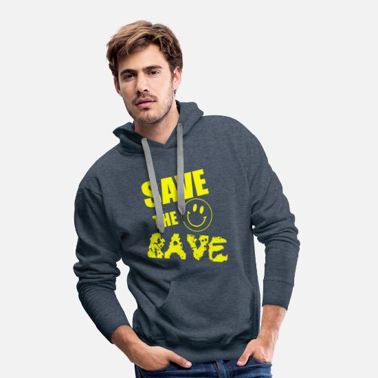 Save The World Hoodies & Sweatshirts - save the rave 2 - Men's Premium Hoodie heather denim