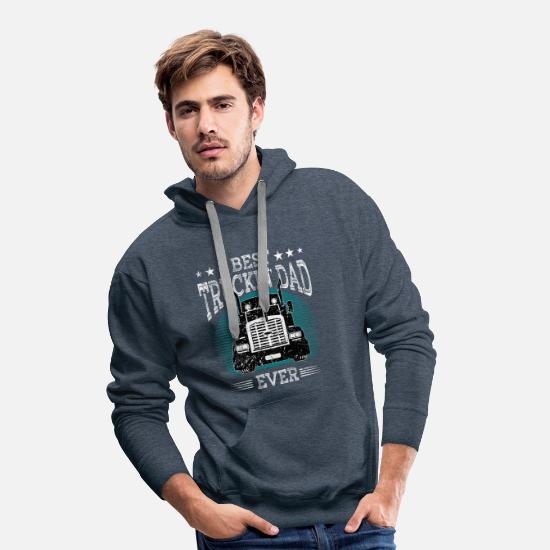 Dad Hoodies & Sweatshirts - Truck Driver Trucker Truck Driver Dad Trucker Dad - Men's Premium Hoodie heather denim
