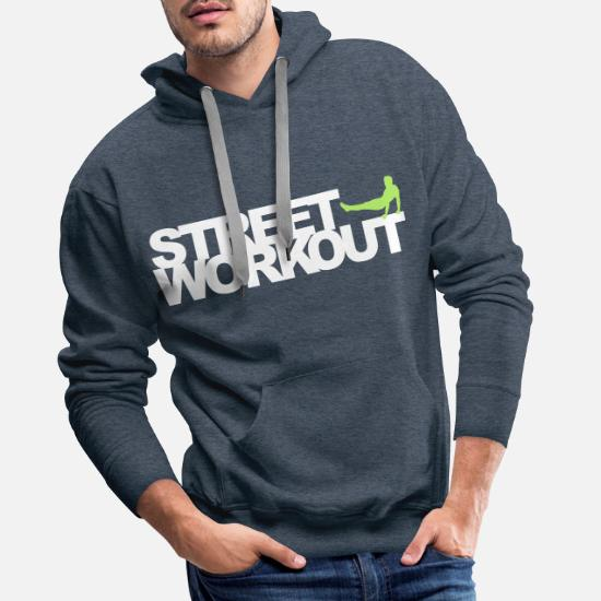 Street Workout Sweat shirt à capuche Premium pour hommes blanc