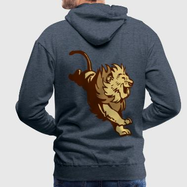 Great Jumping Lion by Cheerful Madness!! - Men's Premium Hoodie