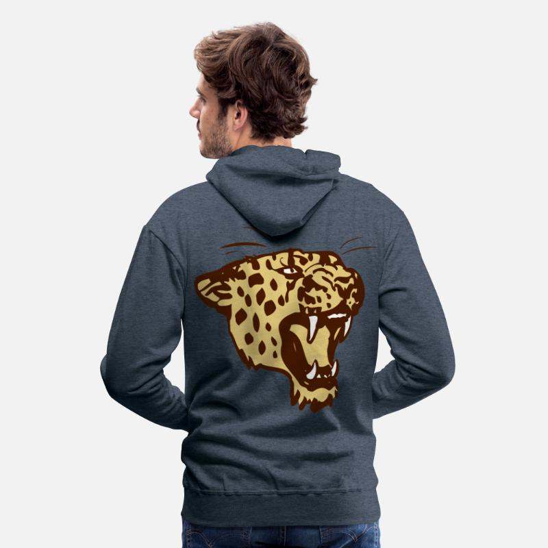 Leopard Hoodies & Sweatshirts - Roaring Leopard by Cheerful Madness!! - Men's Premium Hoodie heather denim