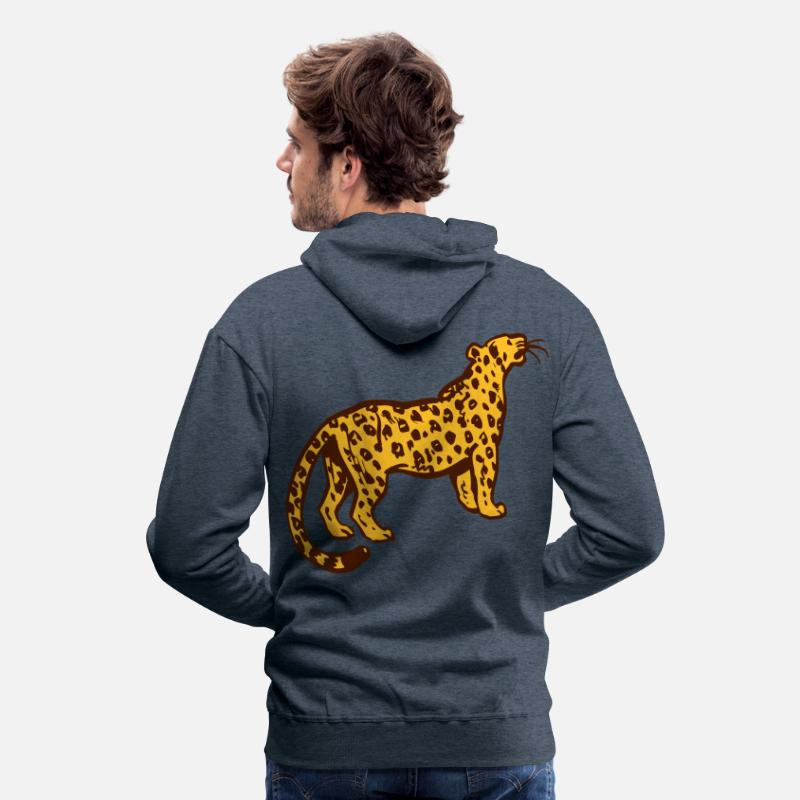 Leopard Hoodies & Sweatshirts - Curious Leopard by Cheerful Madness!! - Men's Premium Hoodie heather denim