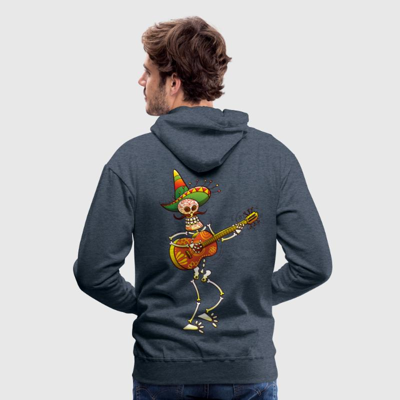 Mexican Skeleton Playing Guitar - Men's Premium Hoodie