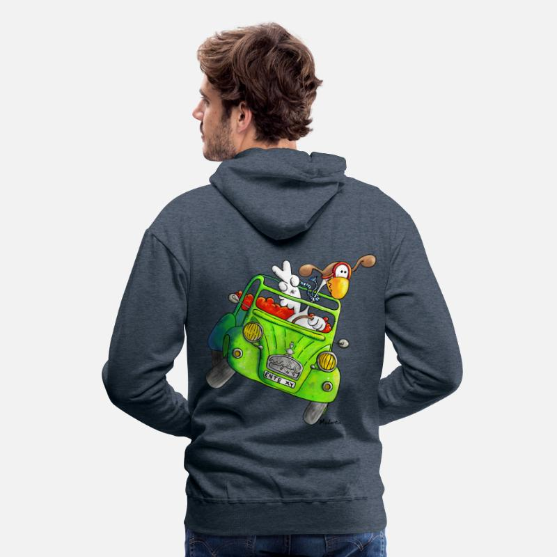 Bestsellers Q4 2018 Hoodies & Sweatshirts - Duck car – Oldtimer – T- Shirt Design - Men's Premium Hoodie heather denim
