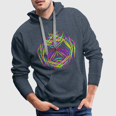 face trippy abstract psychedelic colorful - Männer Premium Hoodie