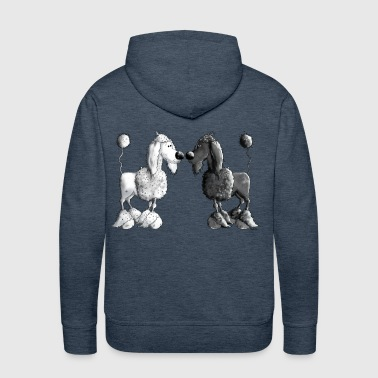 Black And White Poodle - Dog - Men's Premium Hoodie