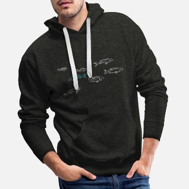 Tide Swimming against the tide - fish - Men's Premium Hoodie
