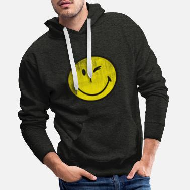 SmileyWorld Zwinkernder Smiley Used Look - Männer Premium Hoodie