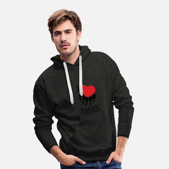 Love Hoodies & Sweatshirts - I love Pyrenees - Men's Premium Hoodie charcoal grey