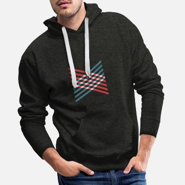 Geometric chessboard red and blue - Men's Premium Hoodie