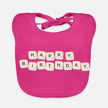 Happy Birthday Happy Birthday Scrabble - Ekologisk babyhaklapp