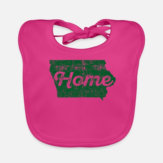 Iowa Babykleidung - Iowa Home State Distressed - Lätzchen Fuchsia