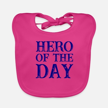 Superdad Hero of the Day - held van de dag - in donkerblauw - Bio-slabbetje voor baby's