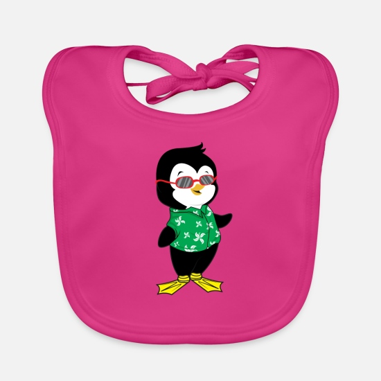 Relax Baby Clothes - Beach penguin summer - Baby Bib fuchsia