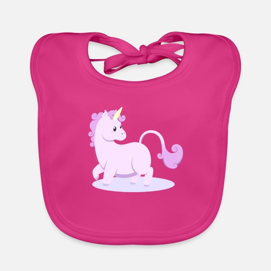 Magic Baby Clothes - Kawaii fantasy animals - Unicorn - Baby Bib fuchsia