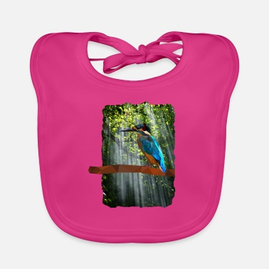 Low poly Kingfisher in the woods with headphones - Baby Bib