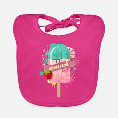 popsicle with strawberry - Baby Organic Bib