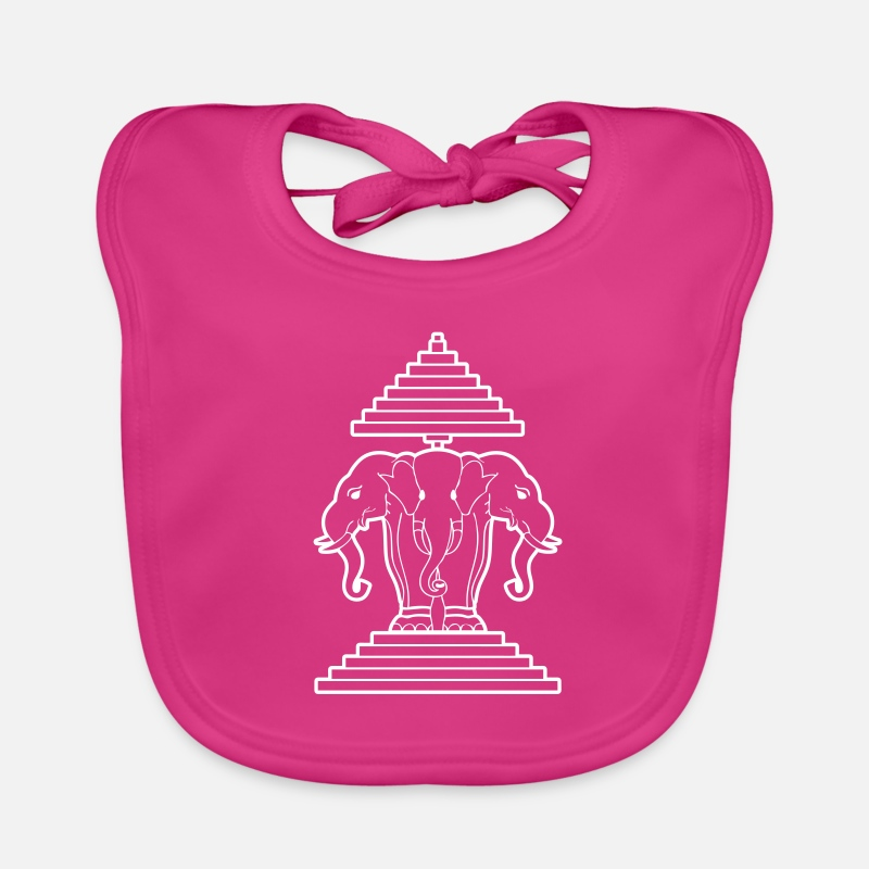 Flag Baby Clothing - Erawan Laotian 3 Headed Elephant - Baby Bib fuchsia