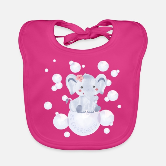 Diving Gift Baby Clothes - Elephant – be energetic - Baby Bib fuchsia