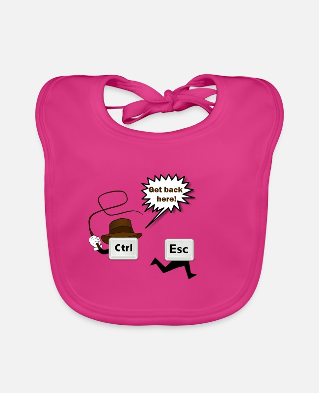 Escape Baby Bibs - Funny saying Control Escape - Baby Bib fuchsia