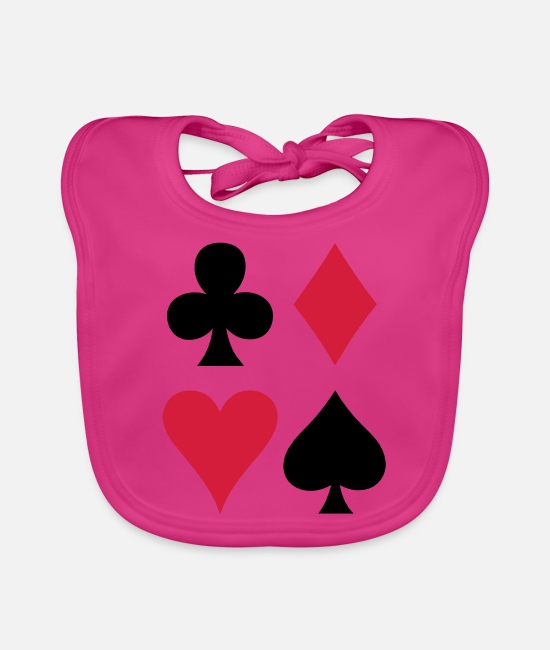 Hipster Baby Bibs - ALL FOUR poker cards card suits in a square - Baby Bib fuchsia