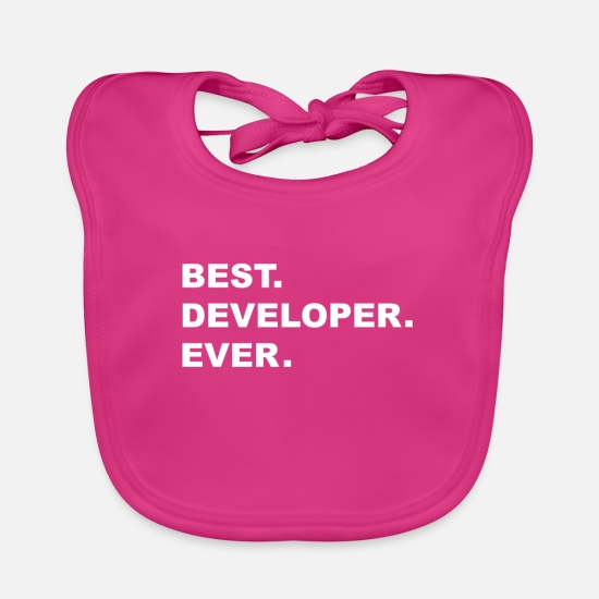 Java Baby Clothes - Best Developer Ever Programmer Developer - Baby Bib fuchsia