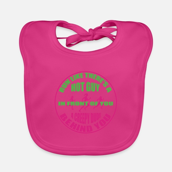 Running Baby Clothes - Race Ms. Funny Cute Scary Horror Gift - Baby Bib fuchsia