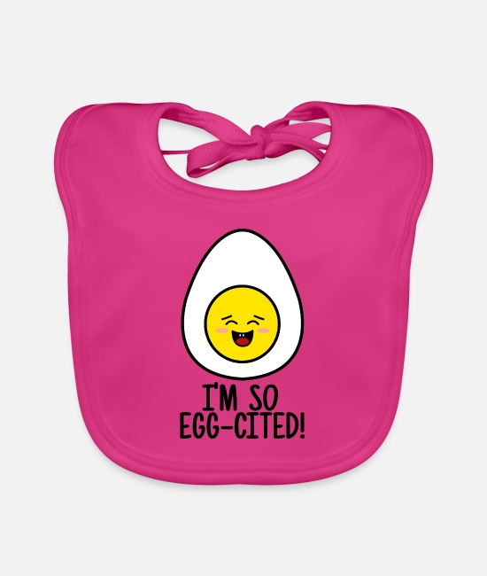 Birthday Baby Clothes - Egg egg-cited - Baby Bib fuchsia