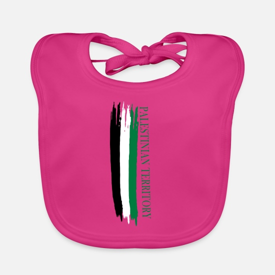 Travel Baby Clothes - Palestinian territory sketched national colors - Baby Bib fuchsia