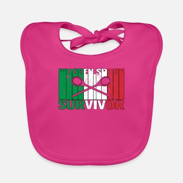 Friends Of Italy Wooden Spoon Survivor With Italy Flag - Baby Bib