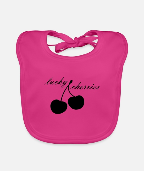 Bless You Baby Clothes - Lucky - cherries - Baby Bib fuchsia