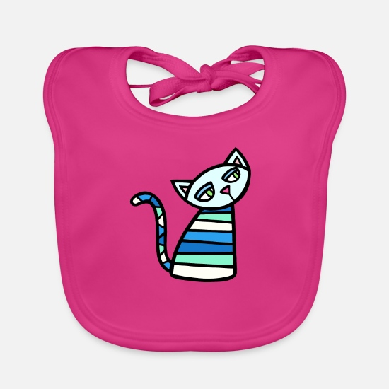 Kitten Baby Clothes - Kitty Katz - Baby Bib fuchsia