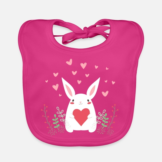 Easter Baby Clothes - eastern bunny easter bunny rabbit ears cute LOL - Baby Bib fuchsia