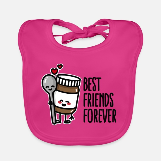 Surprise Baby Clothes - Best friends forever chocolate spread / spoon BFF - Baby Bib fuchsia