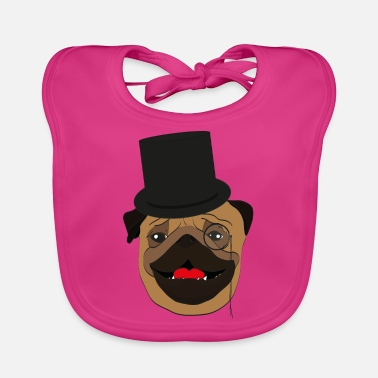 Wealthy The wealthy Pug - gift idea, monocle - Baby Bib