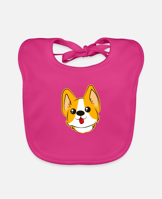 Sweet Dog Baby Bibs - cute dog with tongue - Baby Bib fuchsia