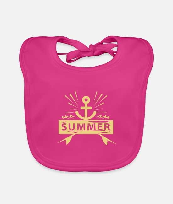 Water Baby Bibs - Summer Anchor - Baby Bib fuchsia