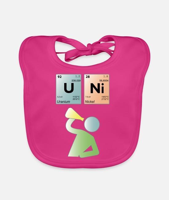 Periodic Table Baby Bibs - UNI periodic table - Baby Bib fuchsia