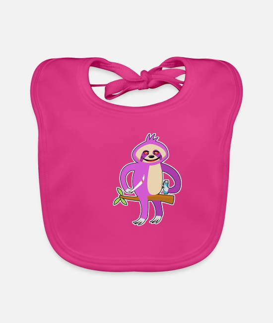 Lazy Baby Bibs - Sloth Lazy Chilling Smoking Joint Weed Relaxing - Baby Bib fuchsia