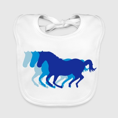 Three horses at a gallop - Horse riding - dressage horses riding horse race - Baby Organic Bib