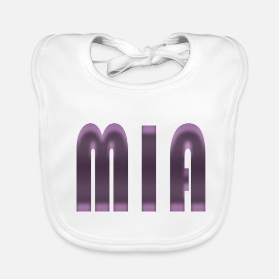 Birthday Baby Clothes - Name Mia First name Name day Birth Gift idea - Baby Bib white