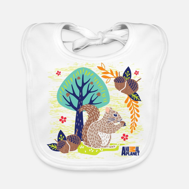 Officialbrands Baby Clothing - Animal Planet Too Cute Squirrel With Acorns - Baby Bib white