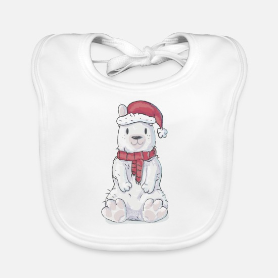 Gift Idea Baby Clothes - Christmas Bear - Baby Bib white