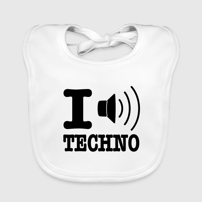 I love techno / I speaker techno - Bavoir bio Bébé