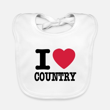 Country i love country / i heart country - Ekologisk babyhaklapp