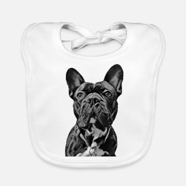 French Bulldog Frenchie Art - French Bulldog gray - Baby Organic Bib