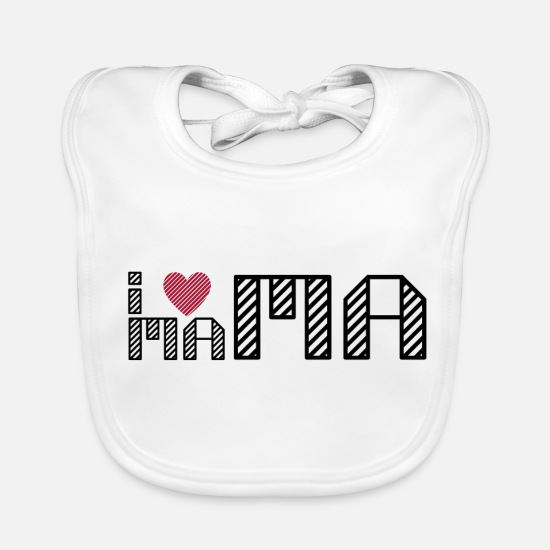 Love Baby Clothes - i love mum, i love my mom - Baby Bib white