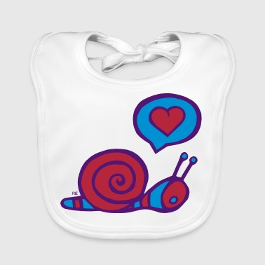 snail in love fun cupid couple - Bavoir bio Bébé