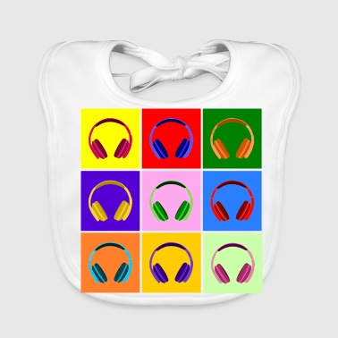 Pop Art Kopfhörer, Pop Art Headphones - Baby Organic Bib